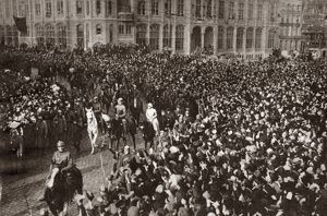 WORLD WAR I: GHENT, 1918. King Albert, Queen Elizabeth and Prince Leopold leading