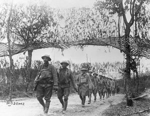 WORLD WAR I: INFANTRY, c1917. A column of American infantry advances towards the