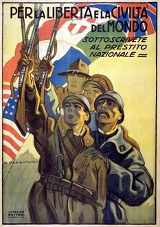 WORLD WAR I: ITALIAN POSTER. Soldiers from Italy, Great Britain, France and the United States