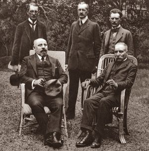 WORLD WAR I: KARL RENNER. Austrian Chancellor Karl Renner (seated, left) and the