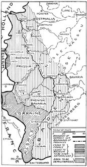 WORLD WAR I: MAP, 1919. Boundaries of Germany under the Treaty of Versailles including