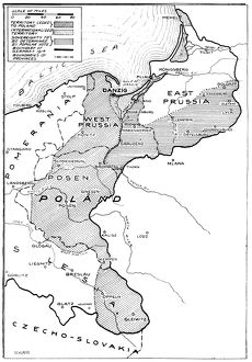 WORLD WAR I: MAP, 1919. Map showing sections of Eastern Germany that were taken away