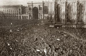 WORLD WAR I: MILAN, 1919. Crowd gathers to greet President Wilson in Milan, Italy