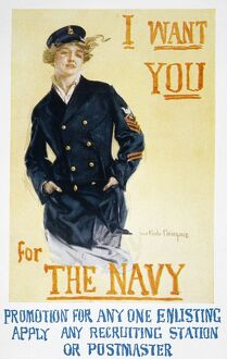 WORLD WAR I: NAVY POSTER. 'I Want You for the Navy.' American World War I poster, 1917, by Howard Chandler Christy.