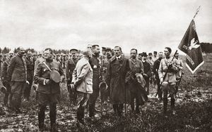 WORLD WAR I: POLISH TROOPS. General Gouraud and American officers are present as