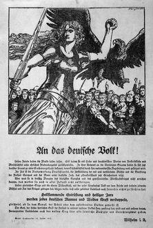 WORLD WAR I: POSTER, 1914. German poster featuring a Valkyrie and the German imperial
