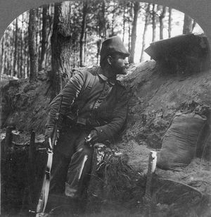 WORLD WAR I: SOLDIER. German soldier on watch from his trench on the Russian front Stereograph