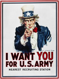 WORLD WAR I: UNCLE SAM. James Montgomery Flagg's famous 'I Want You' U