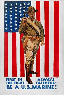 WORLD WAR I: U.S. MARINES. 'First in the Fight.' American World War I Marine corps recruiting poster, c1918, by James Montgomery Flagg.