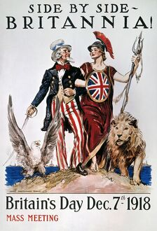 WORLD WAR I: U.S. POSTER. 'Side by Side, Britannia!' American World War I