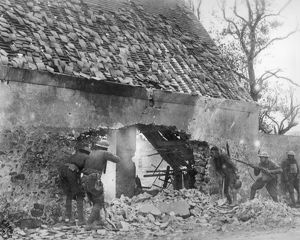 WORLD WAR I: U.S. TROOPS. American troops fighting their way through a French village