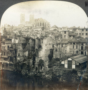 WORLD WAR I: VERDUN RUINS. The Cathedral of Notre Dame and ruins of Verdun, France