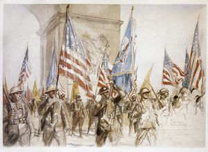 WORLD WAR I: VICTORY PARADE. French and American troops marching near the Arc de Triomphe in Paris