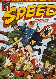 WORLD WAR II: COMIC BOOK. Captain Freedom and friends battle the Axis powers. American comic book cover concerning World War II, c1943.