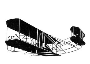 A Wright Brothers biplane in flight. Drawing, 1903.