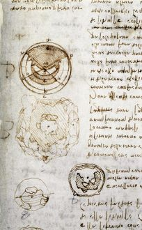 Writing and drawings by Leonardo da Vinci, illustrating the theory that the earth