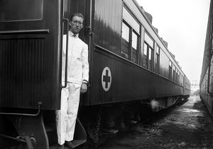 WW I: RED CROSS RAILROAD. Sanitary railroad car operated by the American Red Cross, 1917.