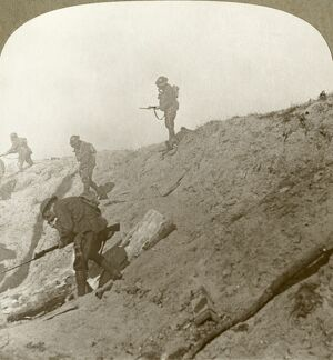WWI: PASSCHENDAELE, 1917. 'Through gas and smoke, our troops advance to the final