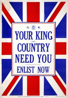 WWI: POSTER, 1914. 'Your king and country need you. Enlist now.' Lithograph, 1914