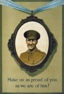 WWI: POSTER, 1915. 'Make us as proud of you as we are of him!' Lithograph, 1915
