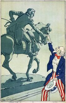 WWI: POSTER, 1917. Uncle Sam shaking hands with the Marquis de Lafayette