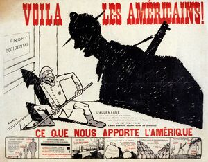 WWI: POSTER, 1917. 'Voila les Americains!' Lithograph by Charles Saunier, 1917