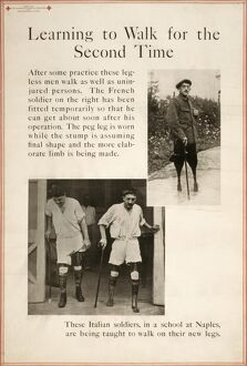 WWI: POSTER, 1919. 'Learning to walk for the Second Time.' Poster, 1919