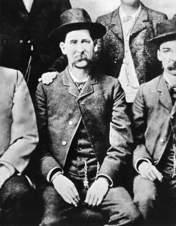 WYATT EARP (1848-1929). American lawman. Detail of Earp from a group photograph of the Dodge City