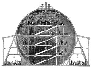 WYLD'S GREAT GLOBE, 1851. Cross-section of the giant globe designed by James Wyld