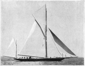 YACHT: METEOR, 1899. The yacht 'Meteor,' owned by Emperor Wilhelm II, winning the