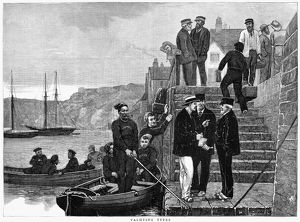 sports/yachting 1876 group yachters wood engraving