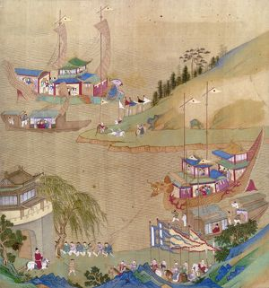 Yang Ti, Sui emperor of China (604-618), and his fleet of sailing craft, including