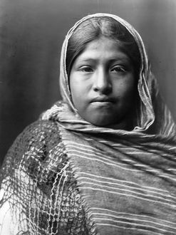 YAQUI GIRL, c1907. Portrait of a Yaqui girl. Photograph by Edward S. Curtis, c1907