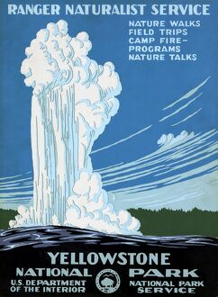 YELLOWSTONE POSTER, c1938. Ranger Naturalist Service poster, c1938, promoting Yellowstone National Park in Wyoming.