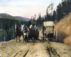 YELLOWSTONE: TRAFFIC. Traffic jam at Yellowstone National Park. Oil over a photograph, c1903, by Frances Benjamin Johnston.