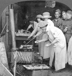 YMCA WOMEN WORKERS YMCA women making doughnuts for American doughboys at Montabaur on the Rhine