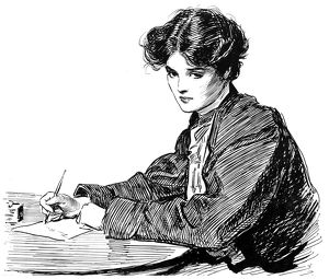 A young woman writing a letter. Pen-and-ink drawing by Charles Dana Gibson, c1900.