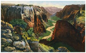 ZION NATIONAL PARK. Panorama of Zion Canyon, Zion National Park, Utah
