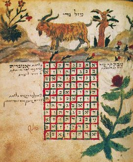 ZODIAC: CAPRICORN, 1716. Drawing from a Hebrew book about the Jewish calendar, 'Sefer Evronot