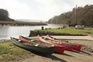 Canoes beside the River Tamar.