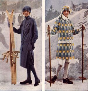 1920s UK womens skiing skis ski wear
