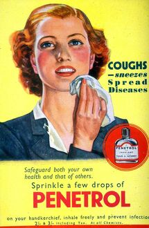 1940s UK coughs sneezes sneezing colds penetrol medicine handkerchieves handkerchiefs