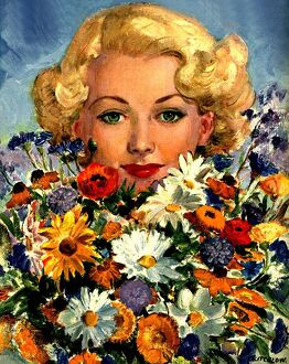 1946 1940s UK womens magazines portraits flowers
