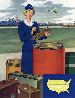 Airlines 1950s USA mcitnt aviation aeroplanes hostesses stewardesses flght attendants