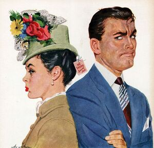 Arrow 1940s USA arguments arguing shopping hats womens anger angry couples