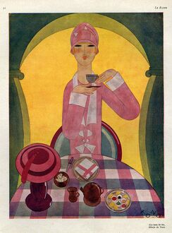 Art Deco Tea Drinking 1926 1920s Spain cc art deco tea drinking afternoon