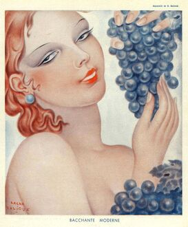 Bachante Moderne 1930s Spain womens portraits grapes wine alcohol