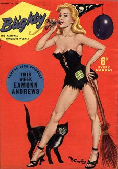 Blighty 1958 1950s UK glamour pin-ups models halloween witches brooms black cats