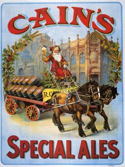 CainA•s 1908 1900s UK Cains beer alcohol Father Christmas Santa Claus advert horses