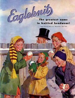 Eagleknit 1950s USA mcitnt childrens hats Eagle Knit snowballs Knitting Mills childrenA•s